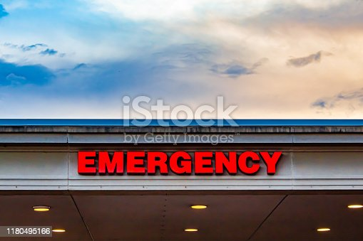 istock Emergency Room Sign from Below 1180495166