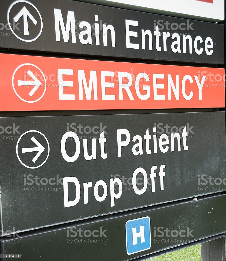 Emergency Room Sign This Way royalty-free stock photo