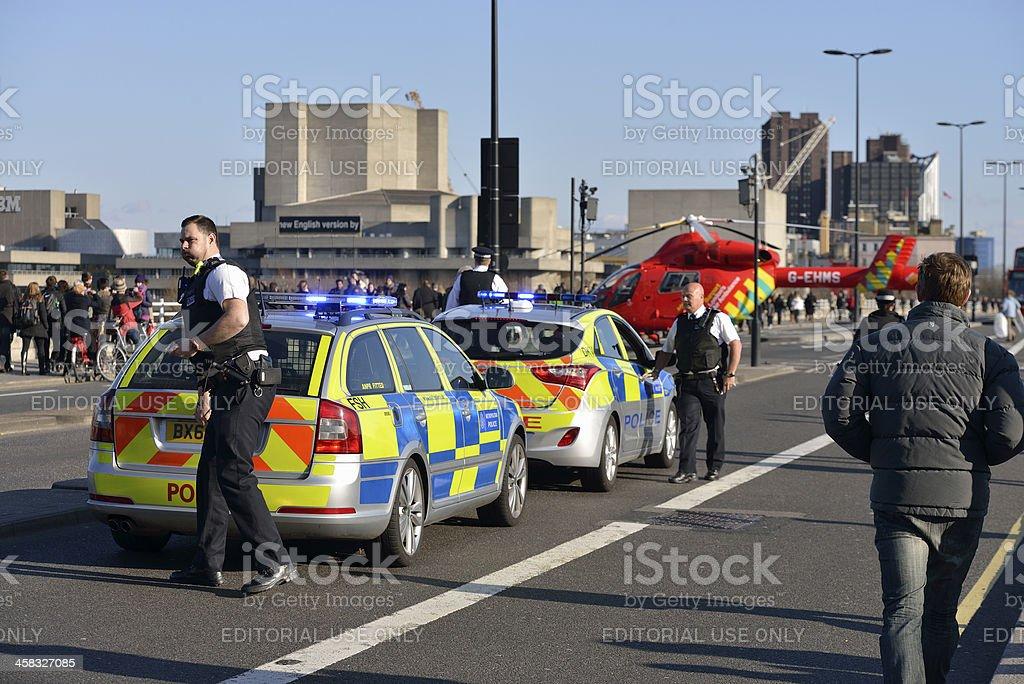 Emergency scene on Waterloo Bridge in London royalty-free stock photo
