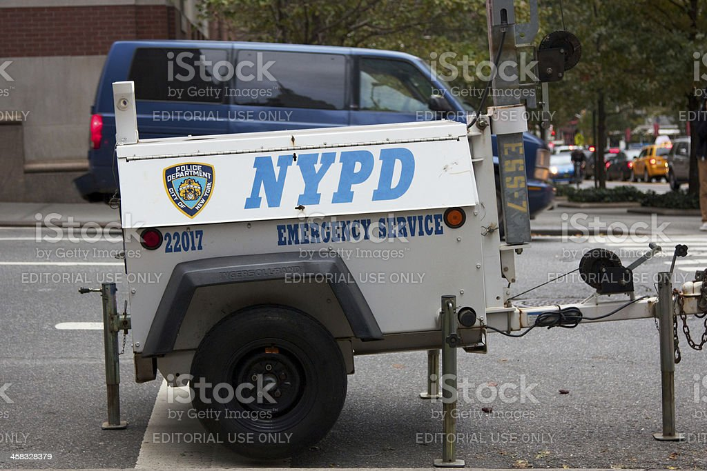 NYPD Emergency Service Generator stock photo