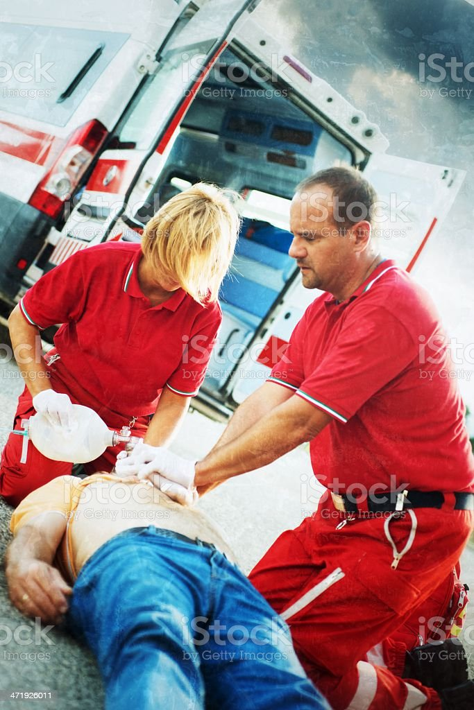 Emergency service rescuing an infarcted