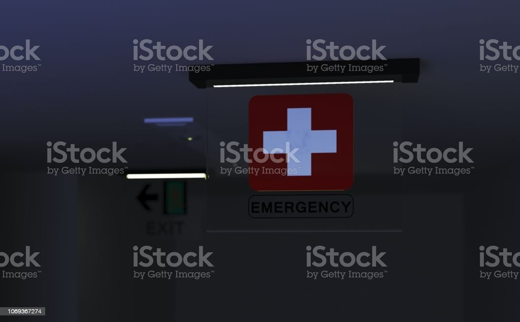 Emergency service sign in emergency room dusk