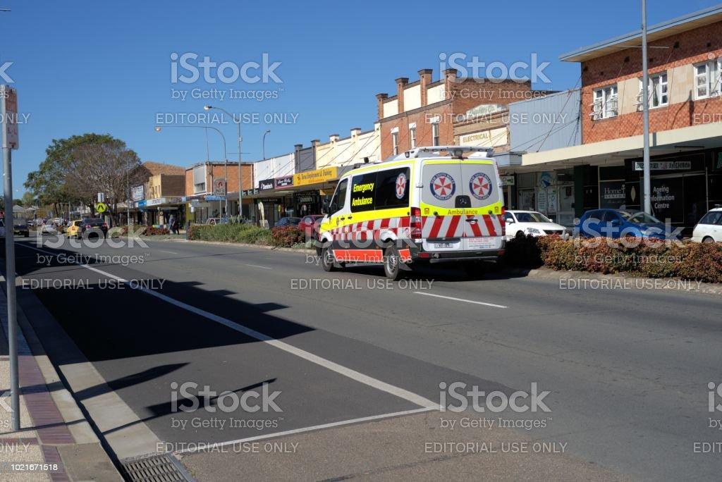 Emergency service vehicle ambulance on street in Australia stock photo