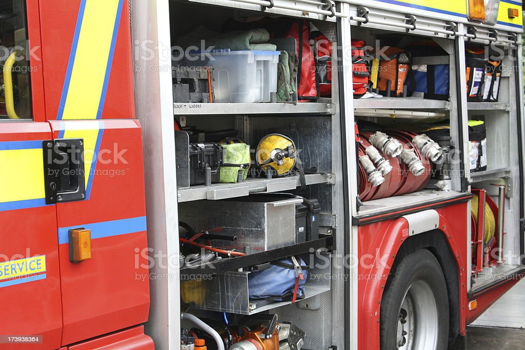 Fire engine showing the essential equipment it carries.