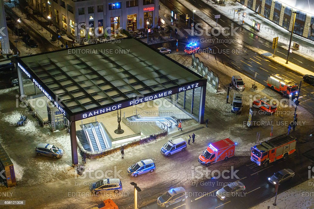 Emergency Services at Berlin Potsdamer Platz stock photo