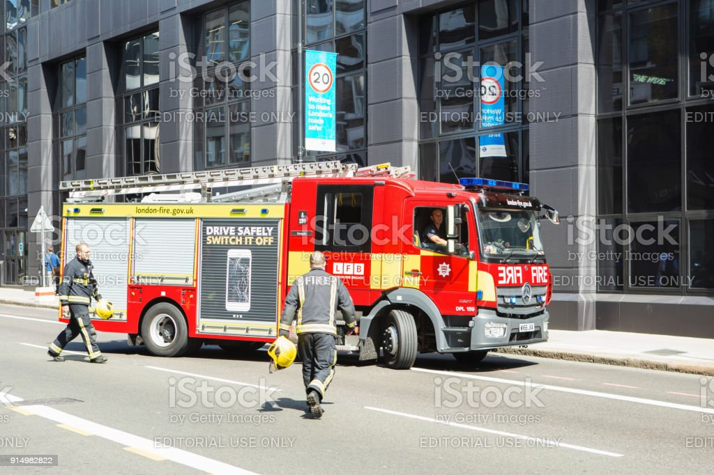 Emergency services Firefighters from the London Fire Brigade respond...