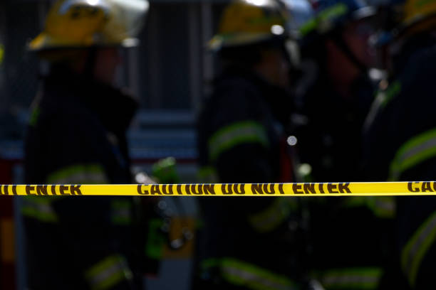 Emergency Services Responce to Building Collapse in Philadelphia, PA stock photo