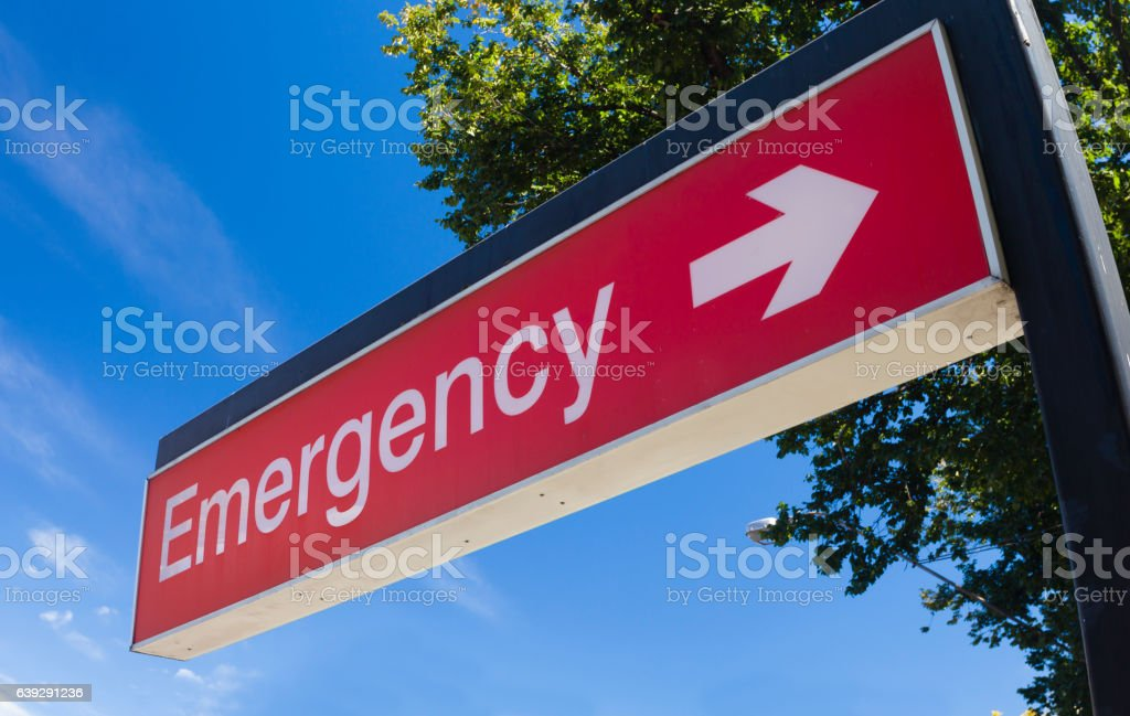 Emergency sign of a hospital stock photo