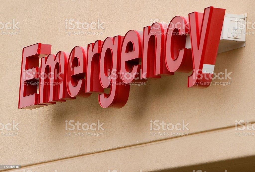 An emergency sign on a hospital.