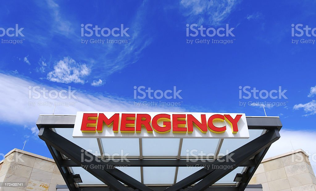A Hospital Emergency Sign with Copy Space and a perfect sky...