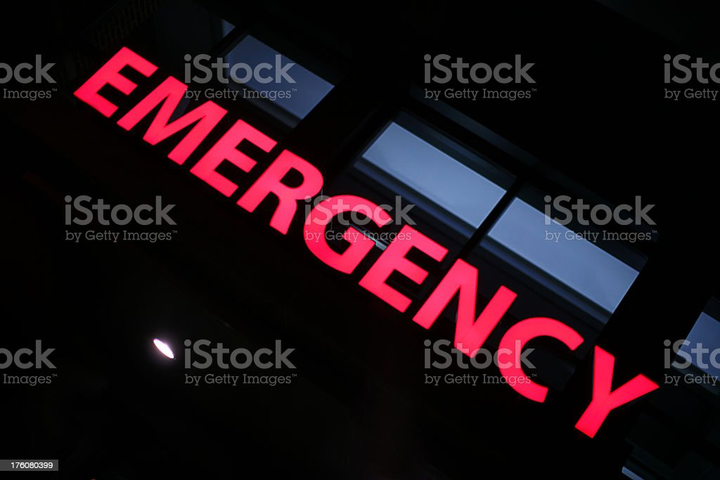 \'Hospital Entrance at Night with Emergency Sign. XXXL, Canon 5D\'