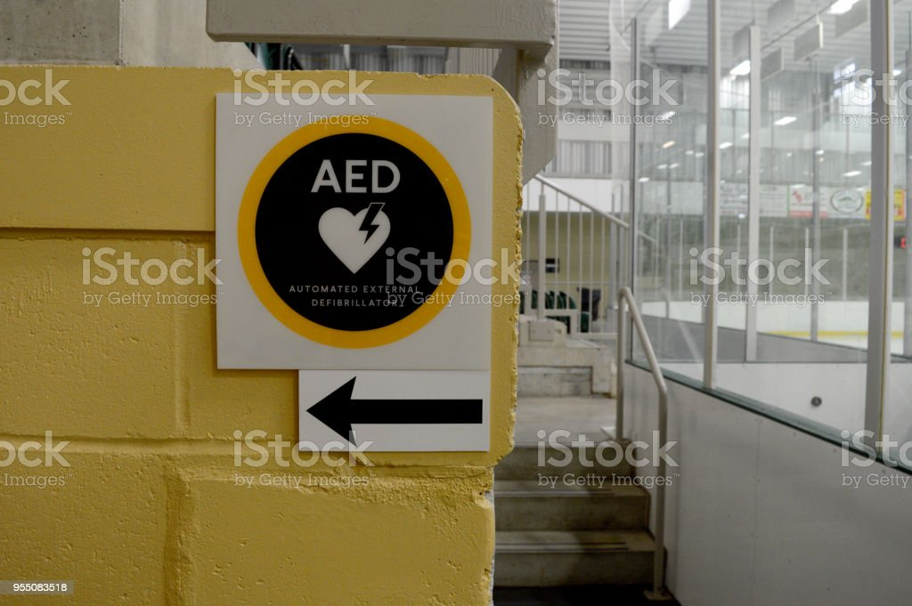 AED Emergency Sign stock photo