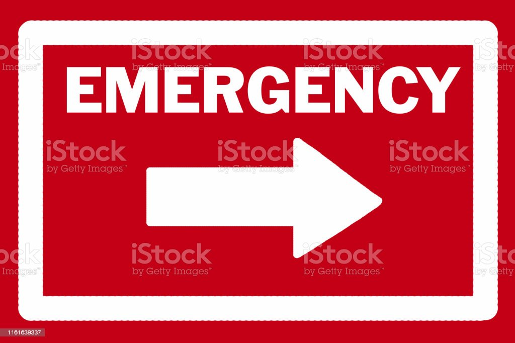 EMERGENCY sign and arrow in white pointing to the right against a red...