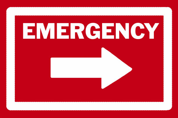 Emergency sign with arrow stock photo