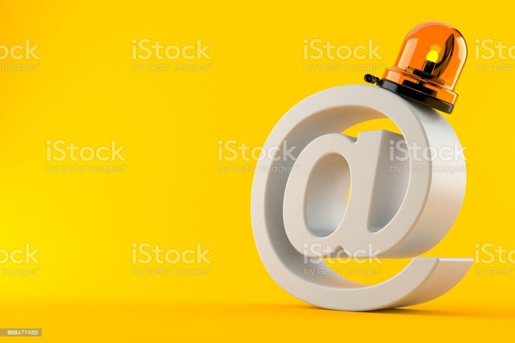 Sirène d'urgence avec le symbole de l'e-mail - Photo