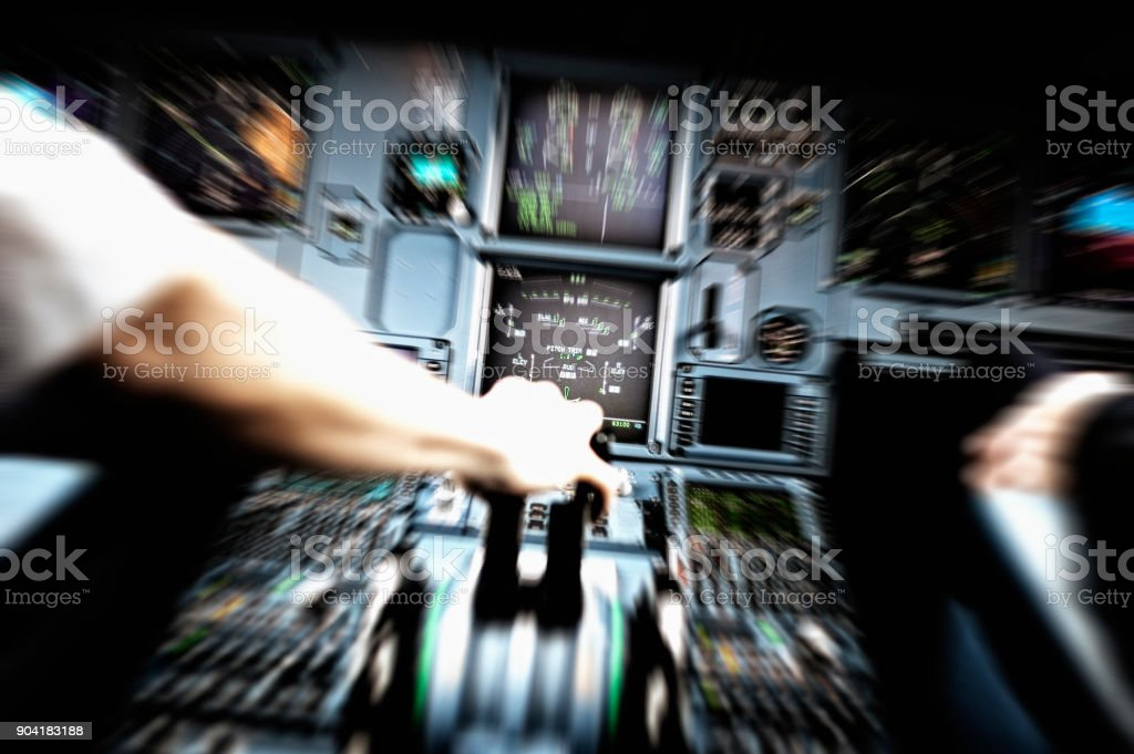 Emergency Situation in Cockpit stock photo