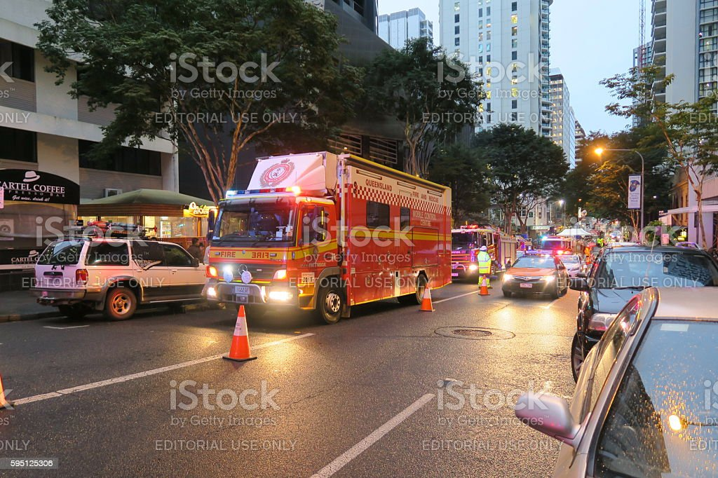 Emergency situation near the filming of the new Thor Movie. stock photo