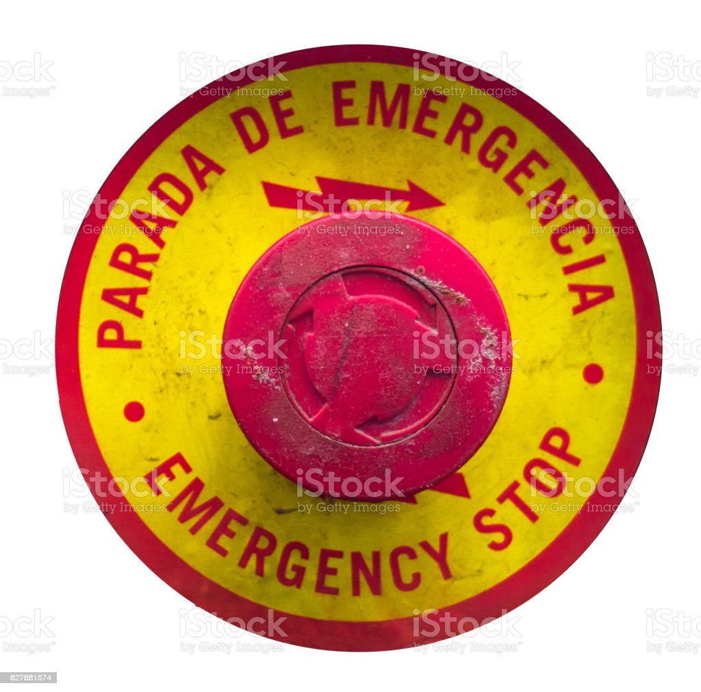 emergency stop red button isolated stock photo