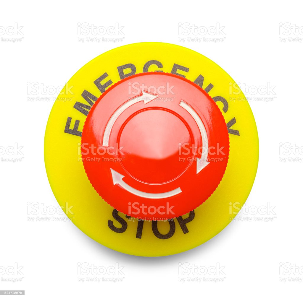 Emergency Stop Red Button stock photo