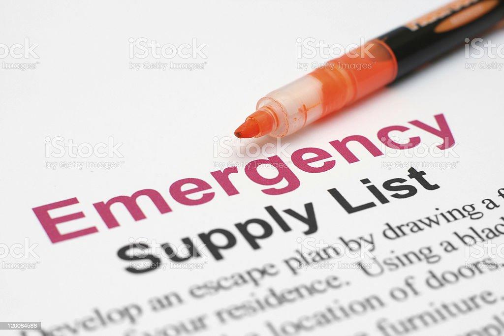 Emergency supply list stock photo
