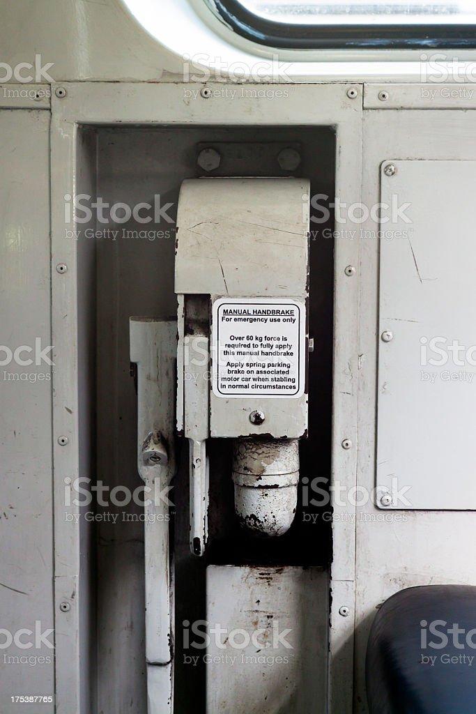 Emergency train handbrake with advice royalty-free stock photo