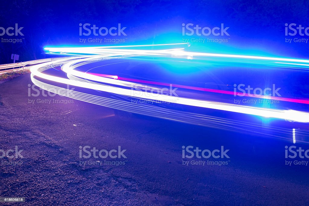 Emergency vehicle on the road stock photo
