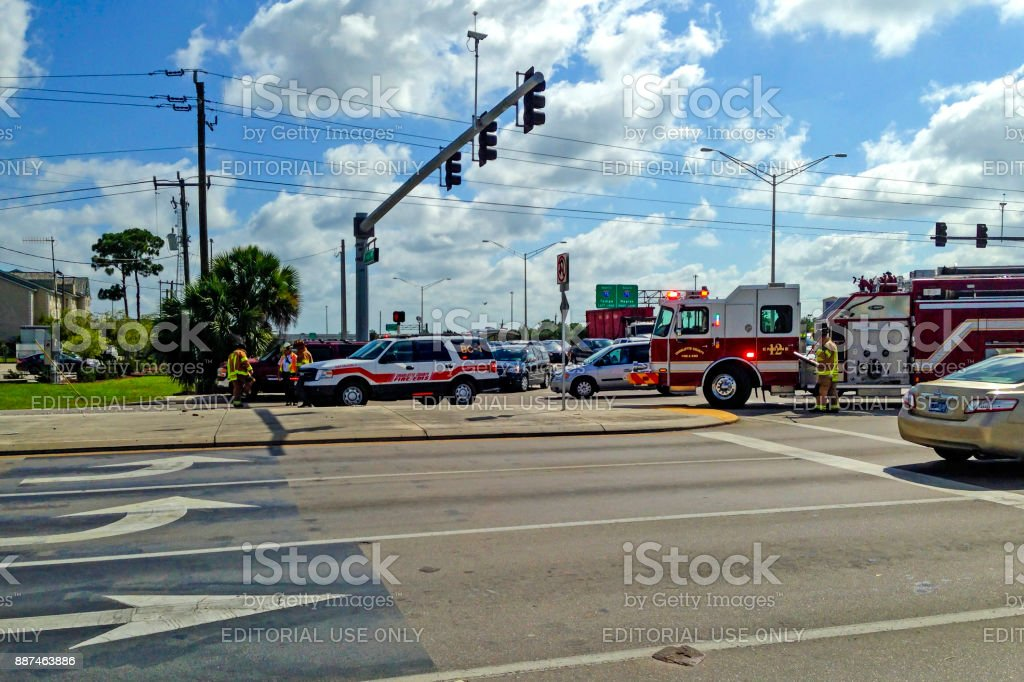Emergency vehicles attend a fender-bender near I-75 in Port Charlotte FL, USA stock photo