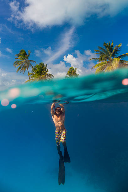 emerging from water - freitauchen stock-fotos und bilder