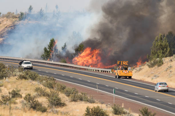 Emerson Wildfire Burning Near Highway 97 stock photo