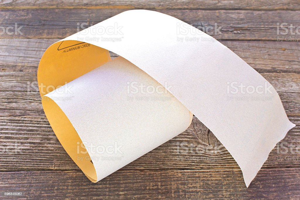 Emery paper - sandpaper on wooden board royalty-free stock photo