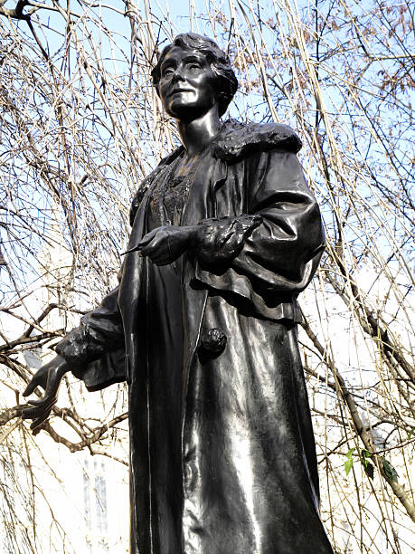 Emily Pankhurst Emily Pankhurst 1858-1928 statue in Victoria Tower Gardens at the Houses of Parliament, London England, UK, was sculptured by Arthur George Walker and unveiled ion 1930 women's suffrage stock pictures, royalty-free photos & images