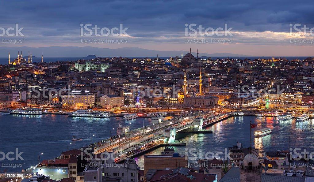 Eminonu from Galata Tower stock photo