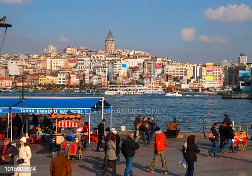 Istanbul, Turkey - December 29, 2007 : Eminonu Harbor, Beyoglu district historic architecture and sea port over the Golden Horn bay in Istanbul, Turkey
