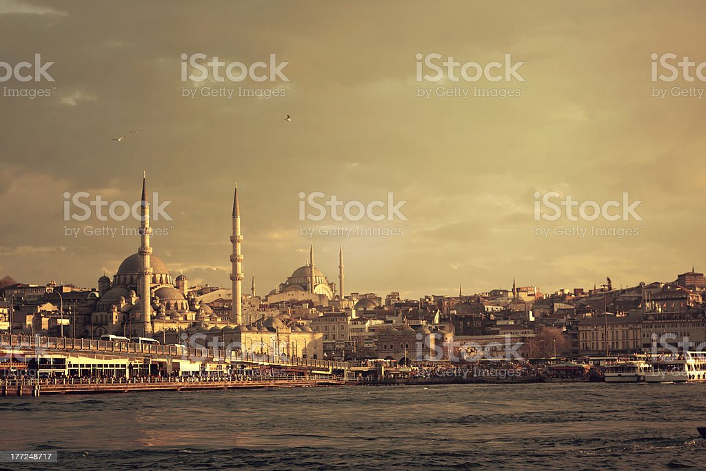 Eminonu sunset royalty-free stock photo