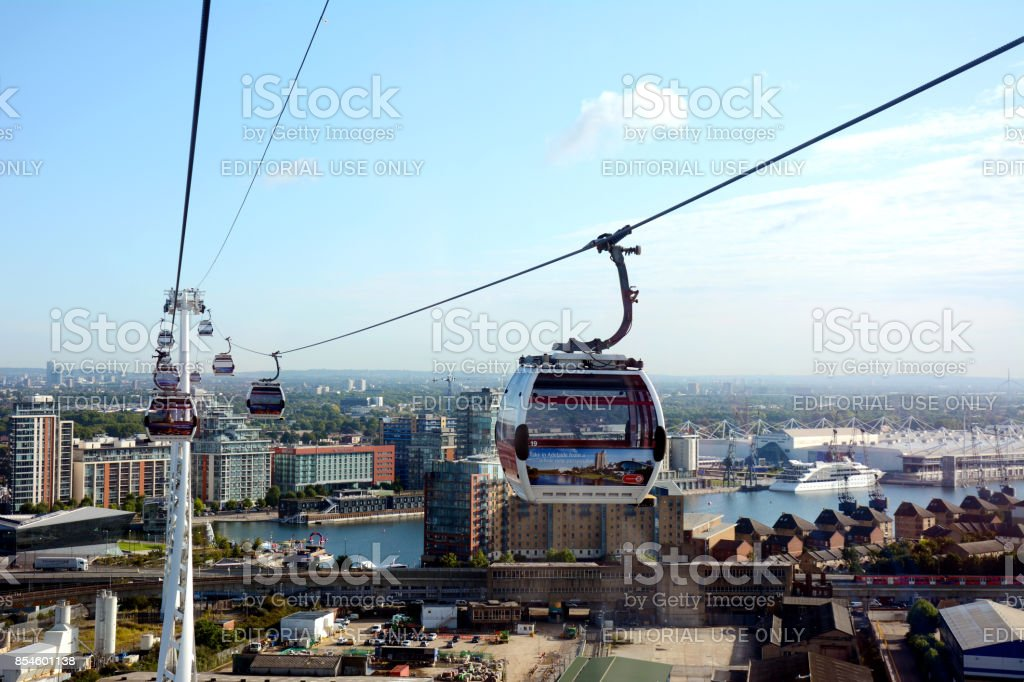 Emirates Air Lines Cable Cars above River Thames, Greenwich, London, UK stock photo