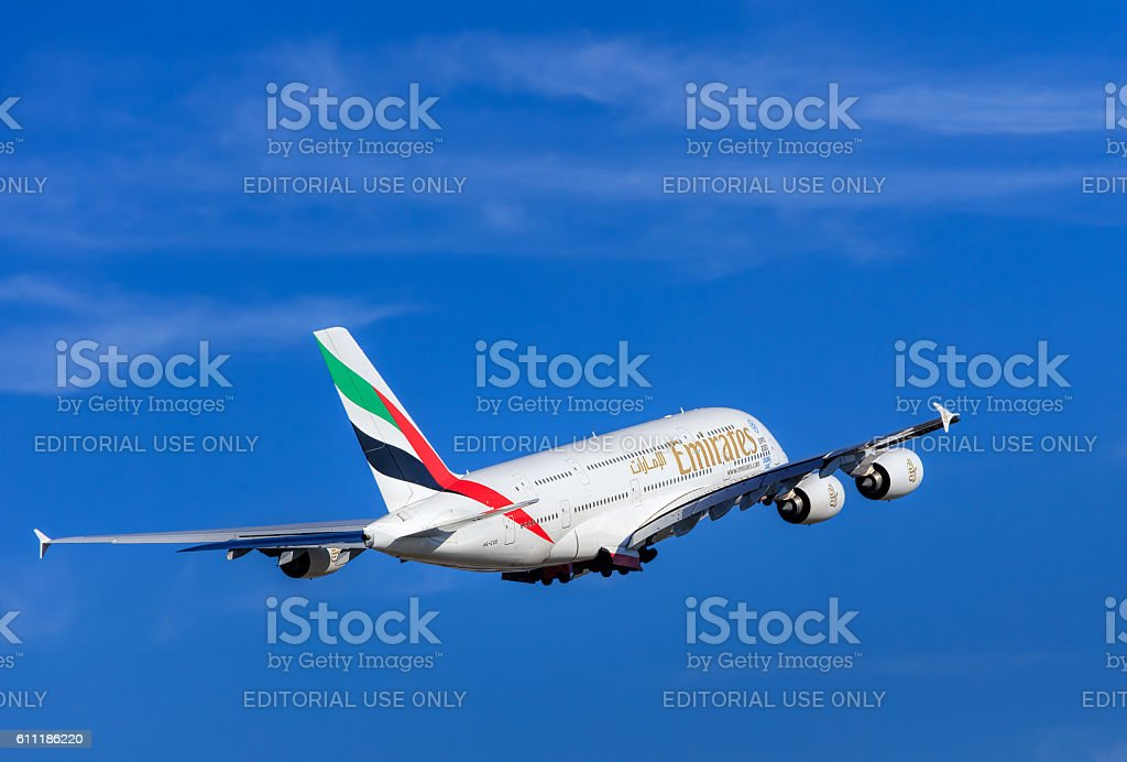 Emirates Airbus A-380 after take off in the Zurich Airport stock photo