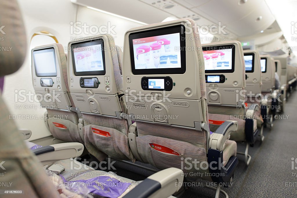 Emirates airbus a380 aircraft interior stock photo more for Airbus a380 emirates interior