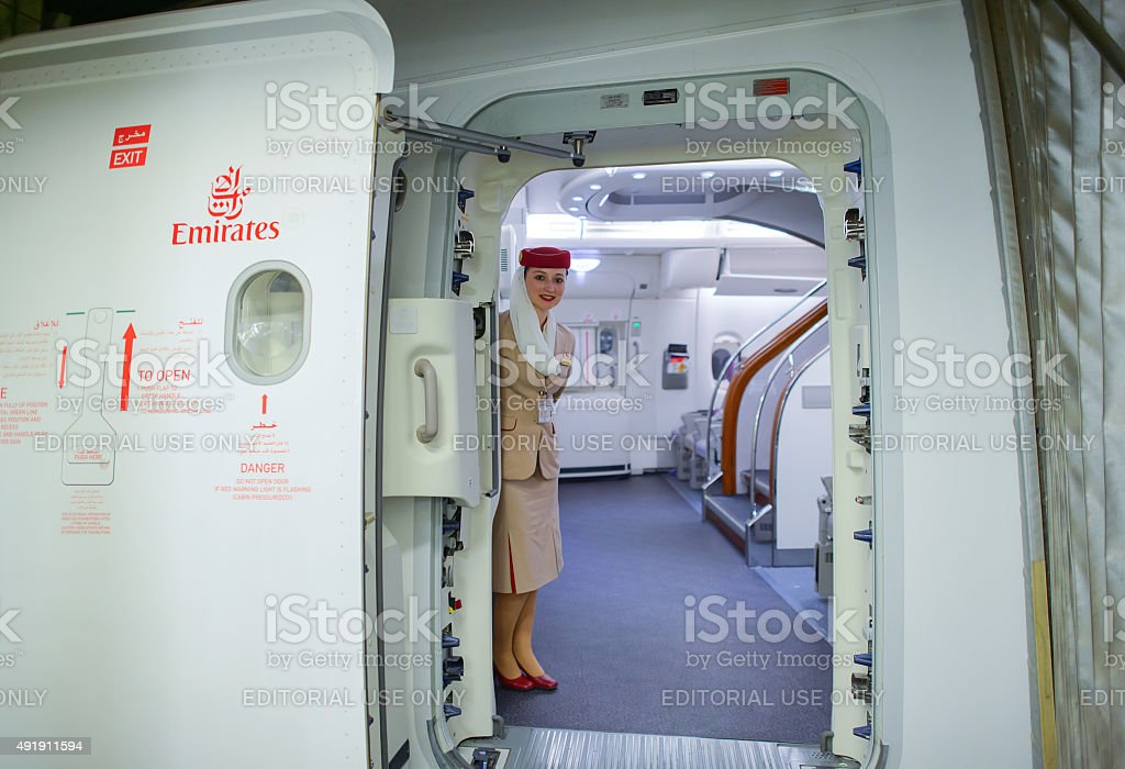 Emirates Airbus A380 crew member stock photo
