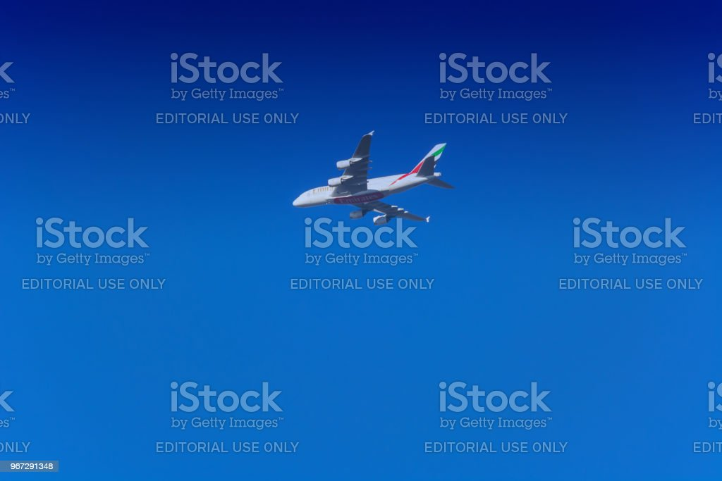 Emirates Airbus A-380 during the launch process stock photo
