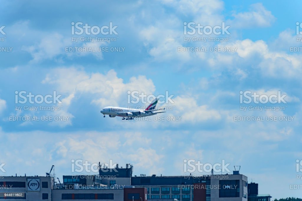 Emirates Airbus A380 flying in mid air stock photo