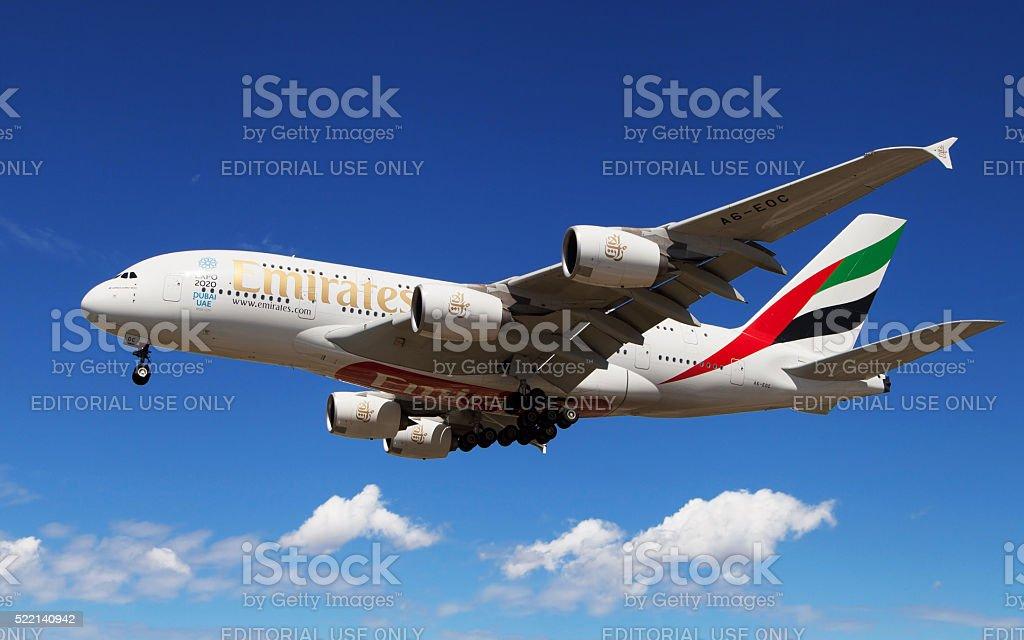Emirates Airbus A380 landing stock photo