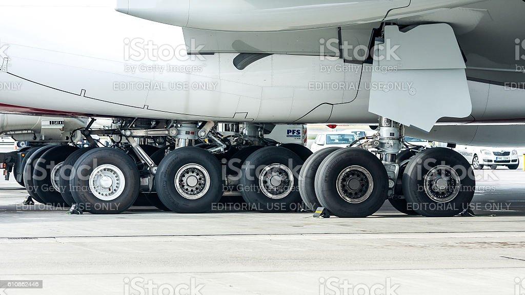 Emirates Airbus A380 - main gear stock photo
