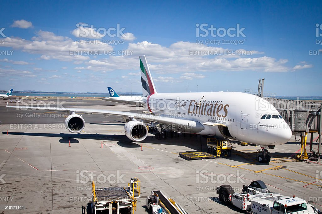 Emirates Airbus A380-800 Aircraft parked at Auckland Airport New Zealand stock photo