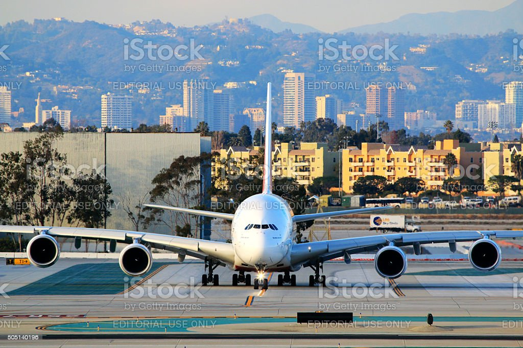 Emirates Airbus A380-800 taxiing at LAX Airport stock photo