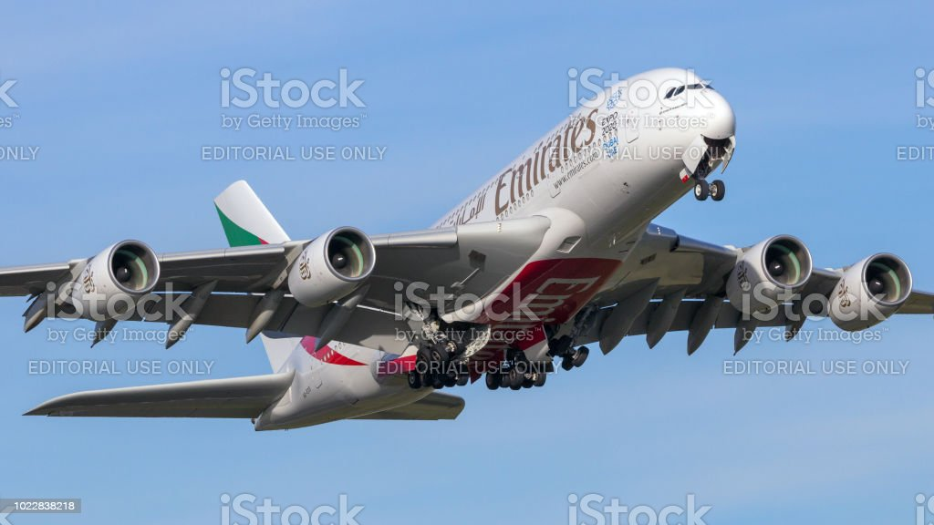 Emirates Airline Airbus A380 aircraft stock photo