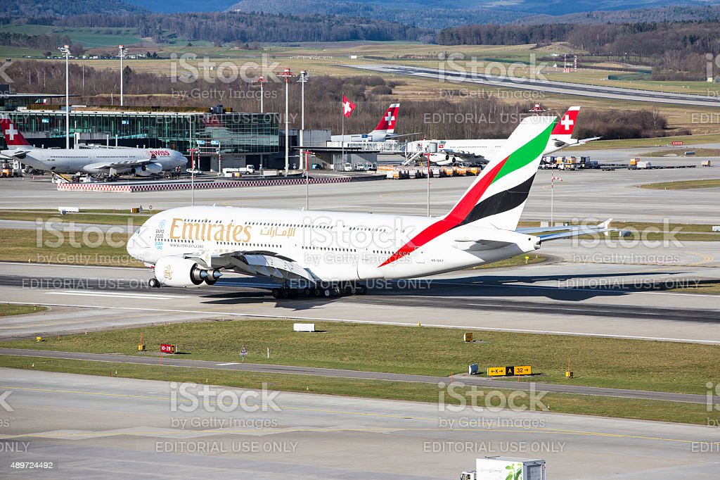 Emirates Airline Airbus A380 at Zurich Airport stock photo