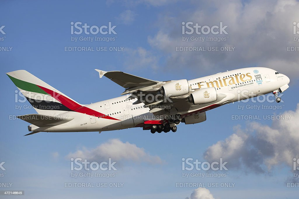 Emirates Airline Airbus A380 stock photo