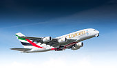 Zürich, Switzerland - May 08, 2014: Airbus A380 of Emirates Airline departing Zurich airport