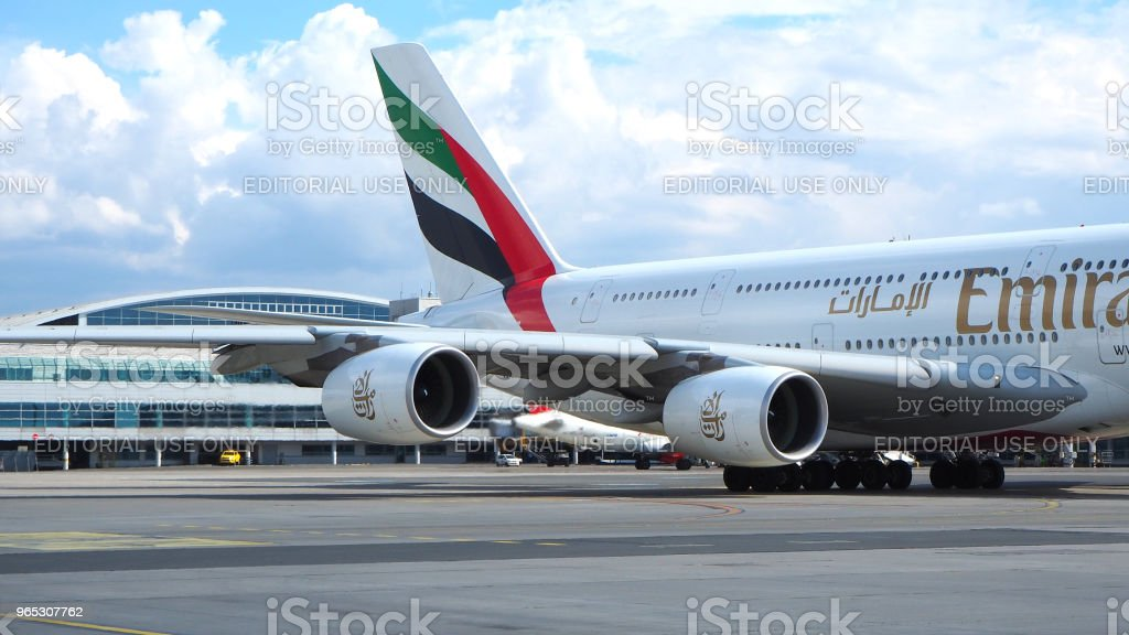 Emirates Airlines A380. Engine of big passenger plane that waiting for departure stock photo