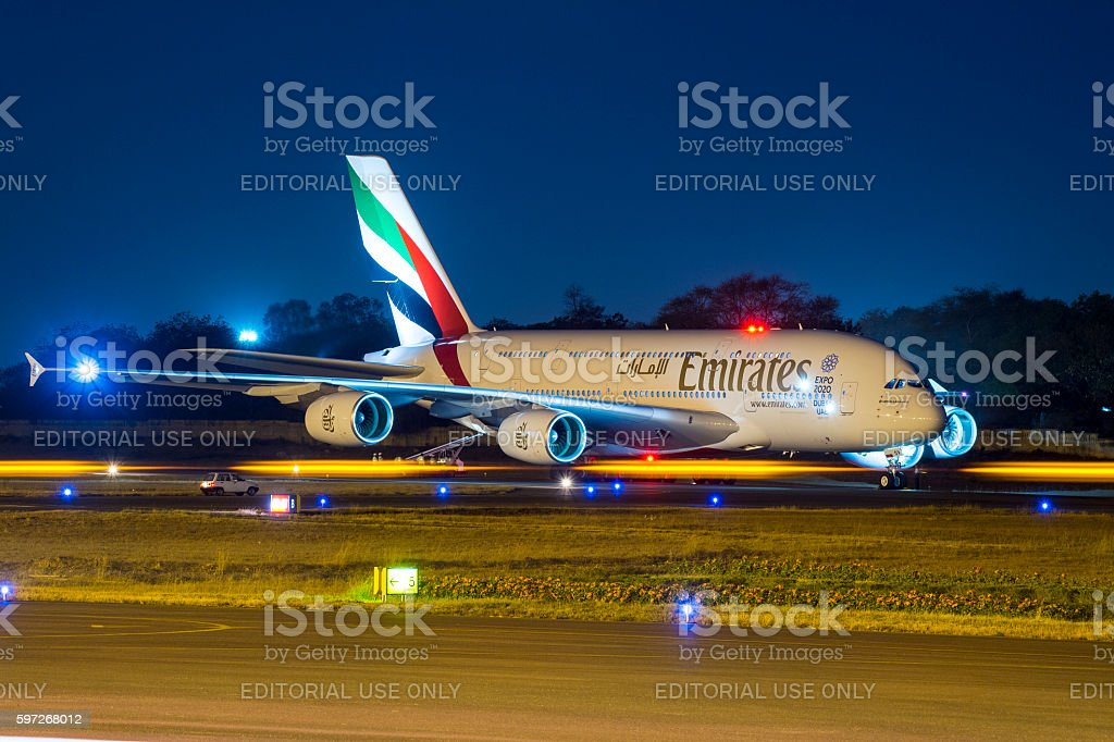 Emirates Airlines Airbus380 royalty-free stock photo
